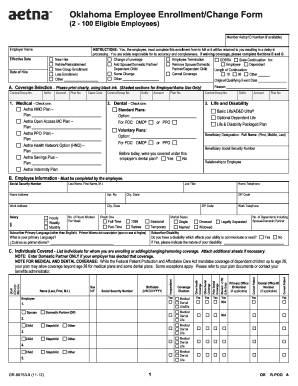 Aetna Oklahoma Small Group Business Employee Enrollment Form ...
