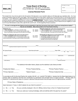 Complete Texas Lvn Renewal Form - Fill Online, Printable, Fillable ...