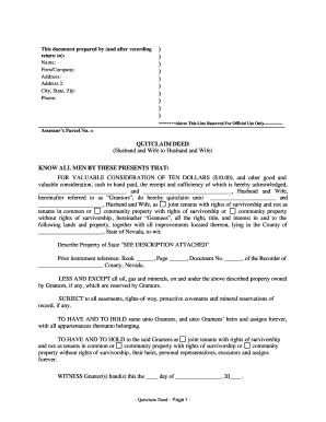 Bill Of Sale Form Nevada Quitclaim Deed Form Templates - Fillable ...
