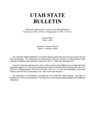 Utah State Bulletin, May 1, 2005 , Vol. 2005 , No. 9 - rules utah