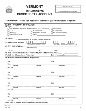 vt application for business tax account fillable pdf
