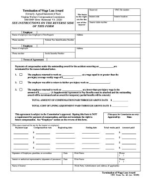 Termination Of Wage Loss Award Fillable Form - Fill Online ...