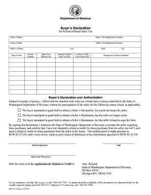 Washington State Declaration Of Buyer And Seller Form - Fill ...
