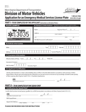 Wv Ems License Plate - Fill Online, Printable, Fillable ...