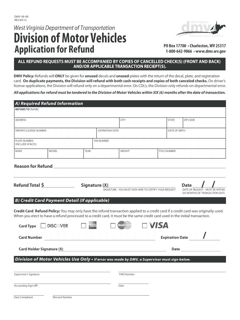 Wv Dmv Refund Applications - Fill Online, Printable