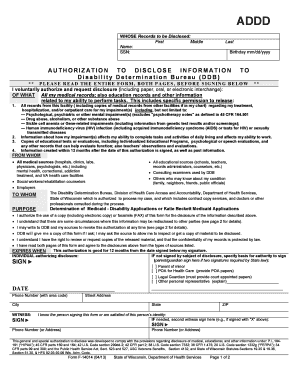 Wi Dhs Authorization Disclose - Fill Online, Printable, Fillable ...
