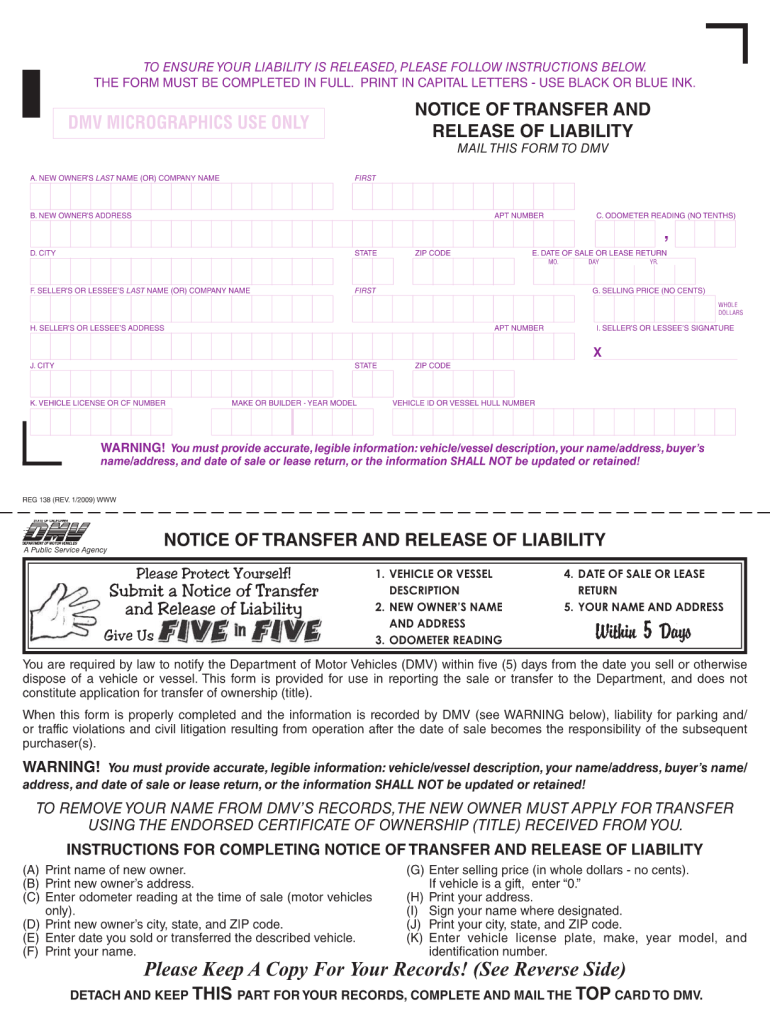 Release Of Liability Ca >> 2009 Form Ca Dmv Reg 138 Fill Online Printable Fillable