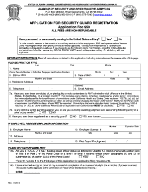 California bsis application for locksmith license pdf for Application for employment california template