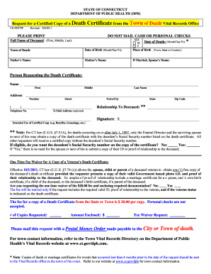 Ct fillable death certificate form