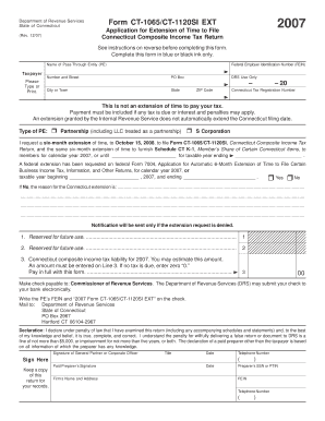 form 1065 extension  Ct 11 Extension - Fill Online, Printable, Fillable, Blank ...