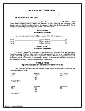 last will and testament nj Nj Will Forms Free - Fill Online, Printable, Fillable, Blank | PDFfiller