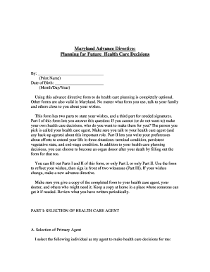 Bill Of Sale Form Maryland Living Will Form Templates - Fillable ...