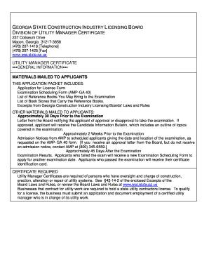 Utility Managers Licenser Reinstatement Georgia Fill Online