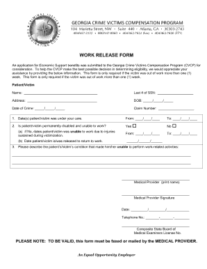 Work Release Form Georgia Images