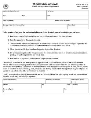 Idaho Small Estate Affidavit  Printable Affidavit
