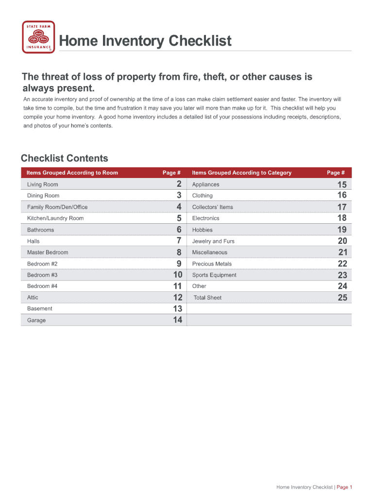 State Farm Personal Property Inventory Customer Worksheet Fill Online Printable Fillable Blank Pdffiller