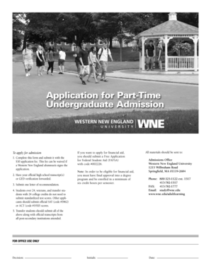 Application for Part-Time Undergraduate Admission - www1 wne