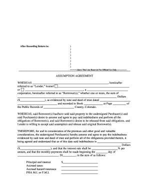 Fillable Assumption Of Debt Agreement Form Edit Online
