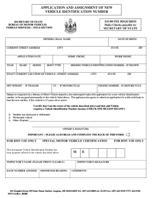 Assignment Of Newvehicle Identification Number Maine Form