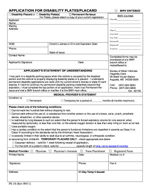 Maine Application For Disability Placard Reissue - Fill Online ...