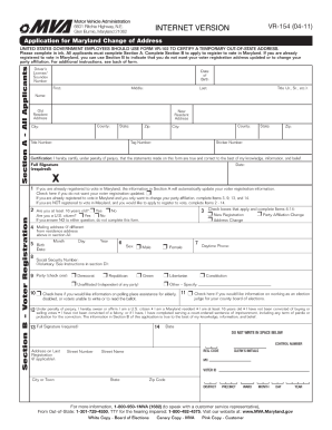 Change Of Address Form Md  Change Of Address Printable Form