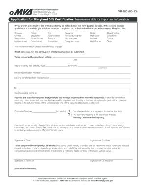 2011 Form MD VR-103 Fill Online, Printable, Fillable, Blank ...