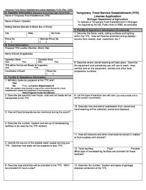 Michigan Food Service License Application