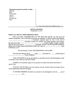 Bill Of Sale Form Oklahoma Quitclaim Deed Form Templates ...