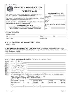 objection to application form 611
