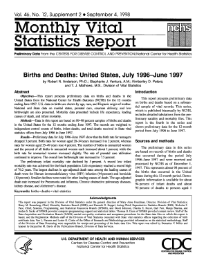 national vital statistics reports 1995 deaths volume 46