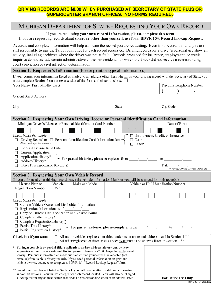 Michigan Form 153 - Fill Online, Printable, Fillable, Blank