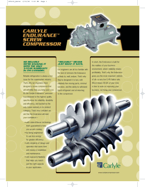 carlyle 06 nw screw compressor form