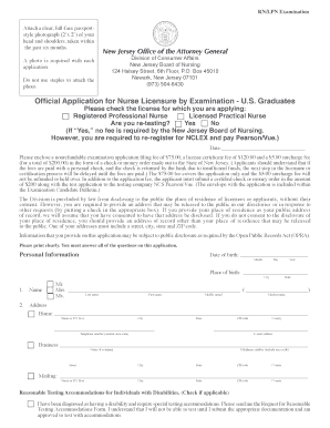 new jersey office of the attorney genral rn license application