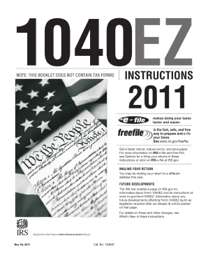2011 1040ez 2011 Form IRS Instruction 1040-EZ Fill Online, Printable, Fillable ...