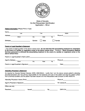 Dnr Form For Nevada