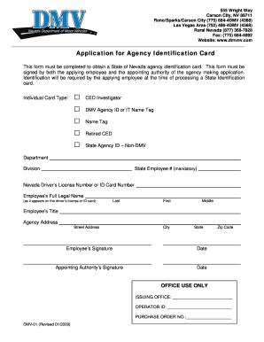 Fillable Online dmv nv DMV01 - Application for Agency ...