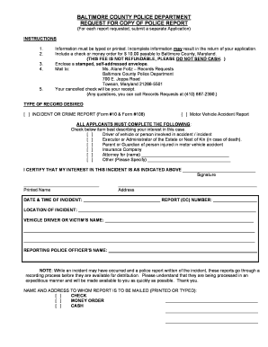 Clank Copy Of Baltimore County Police Report - Fill Online ...