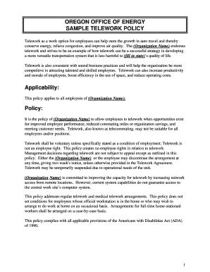 Oregon telework agreement fill online printable fillable blank oregon telework agreement maxwellsz