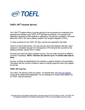 Printable toefl customer service number usa - Edit, Fill Out