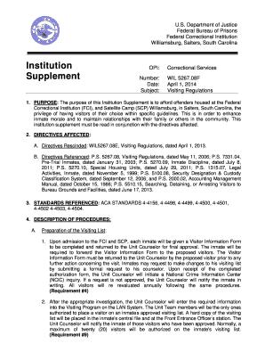 Bop Williamsburg Federal Corrcetional Institution Visitation Form ...