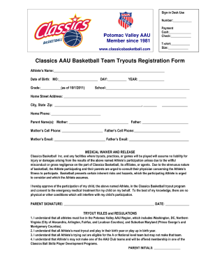 Basketball Application Form  Club Membership Form Template Word