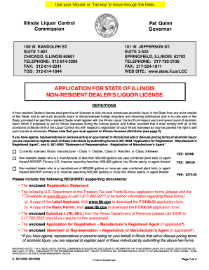 Application For State Of Illinois Non Resident Dealers Liquor ...