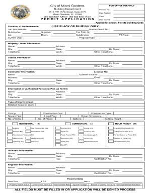 Miami Building Department Application Fill Online