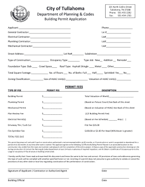 Tullahoma Tn Building Permit Form Fill Online Printable