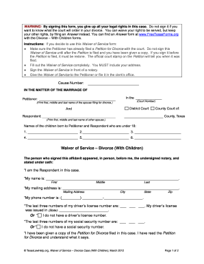 Waiver for divorce with children pdf filler fill online printable waiver for divorce with children pdf filler solutioingenieria Images