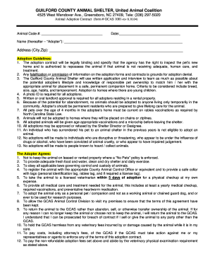 Dog Adoption Form Contract