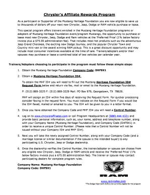 Affiliate Rewards Chrysler Expiration - Fill Online ...