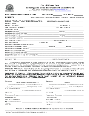 Orange County Florida Fillable Permit Application Fill
