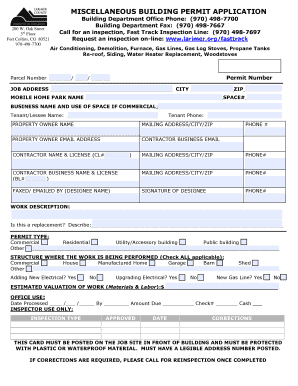 Fillable Online larimer LARIMER COUNTY BUILDING PERMIT APPLICATION ...