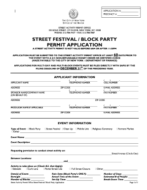 street festival block party permit application